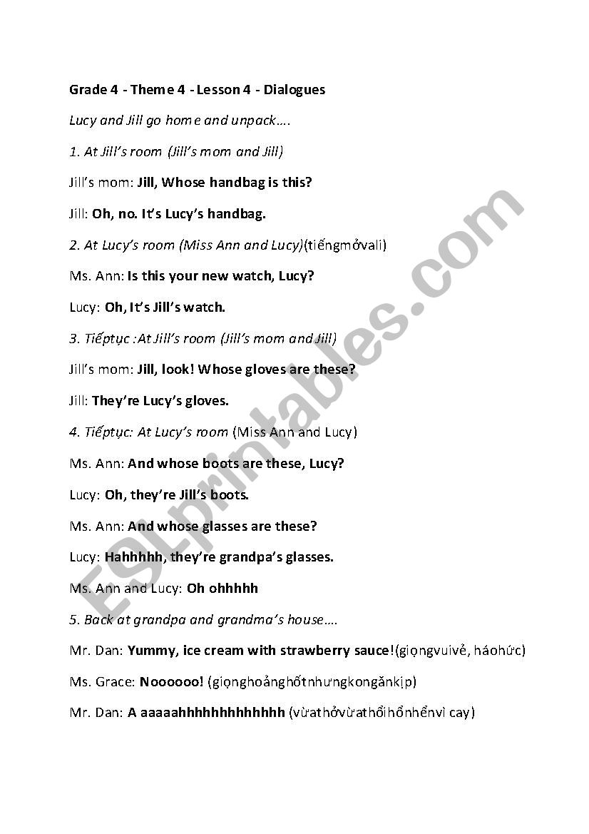 hight resolution of Clothes Dialogue \Whose handbag is this? It´s my handbag\ - Grade 4 - ESL  worksheet by HelenLe75