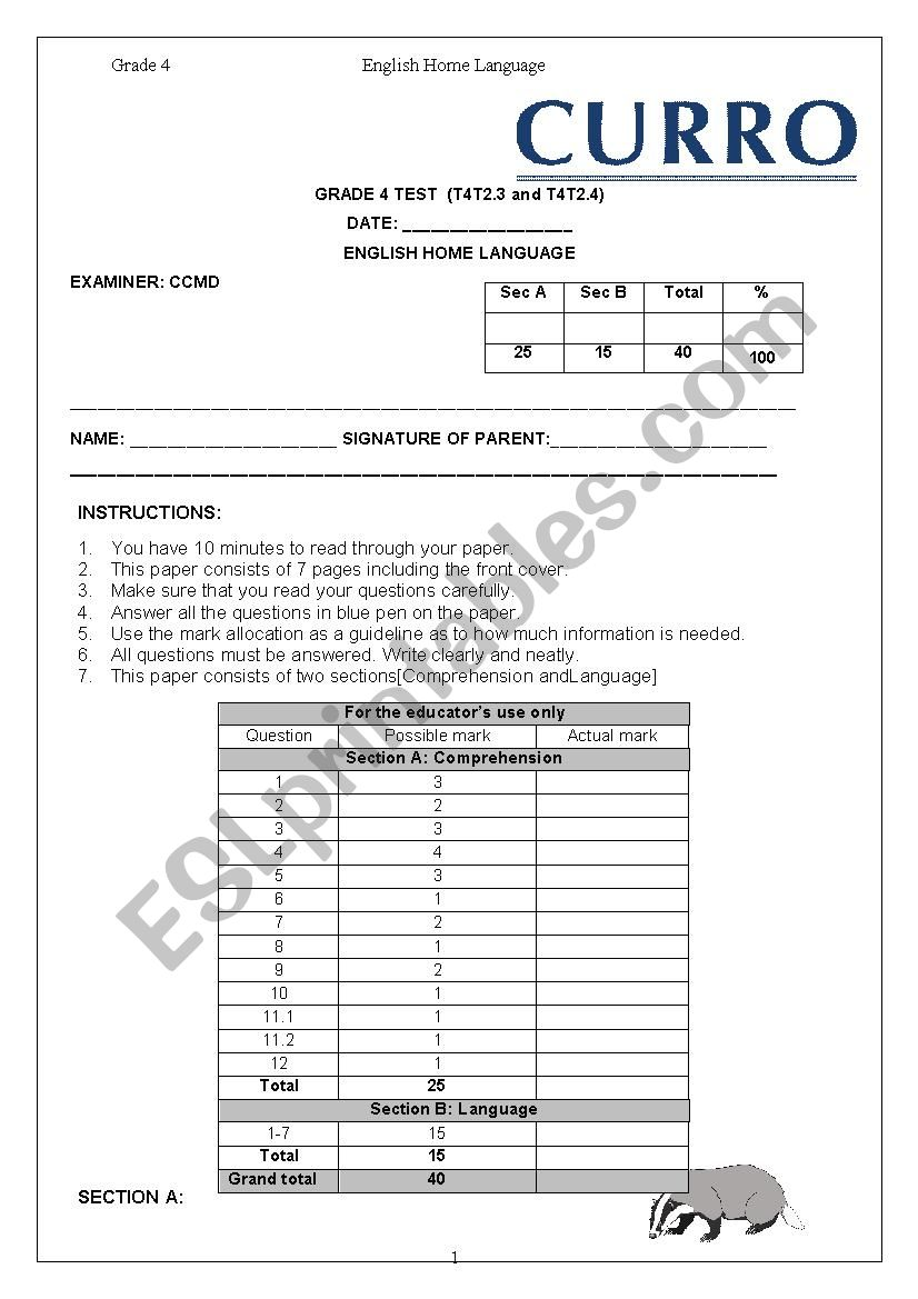 hight resolution of End of Year Grade 4 HL Exam - ESL worksheet by MsvanHeerden
