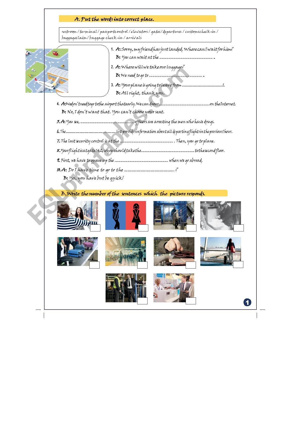 Worksheet Set 1 Airport Vocabulary Be Going To Future