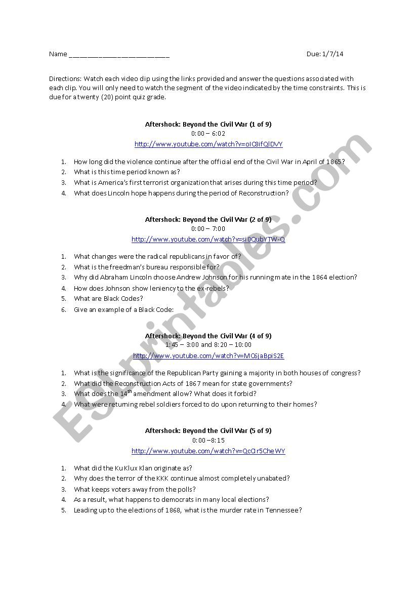 medium resolution of Aftershock: Beyond the Civil War - ESL worksheet by pjbrauer