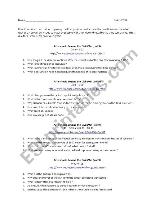 small resolution of Aftershock: Beyond the Civil War - ESL worksheet by pjbrauer