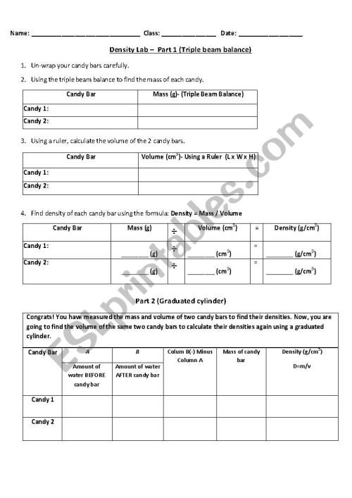 small resolution of Measuring Mass And Volume Worksheet - Nidecmege