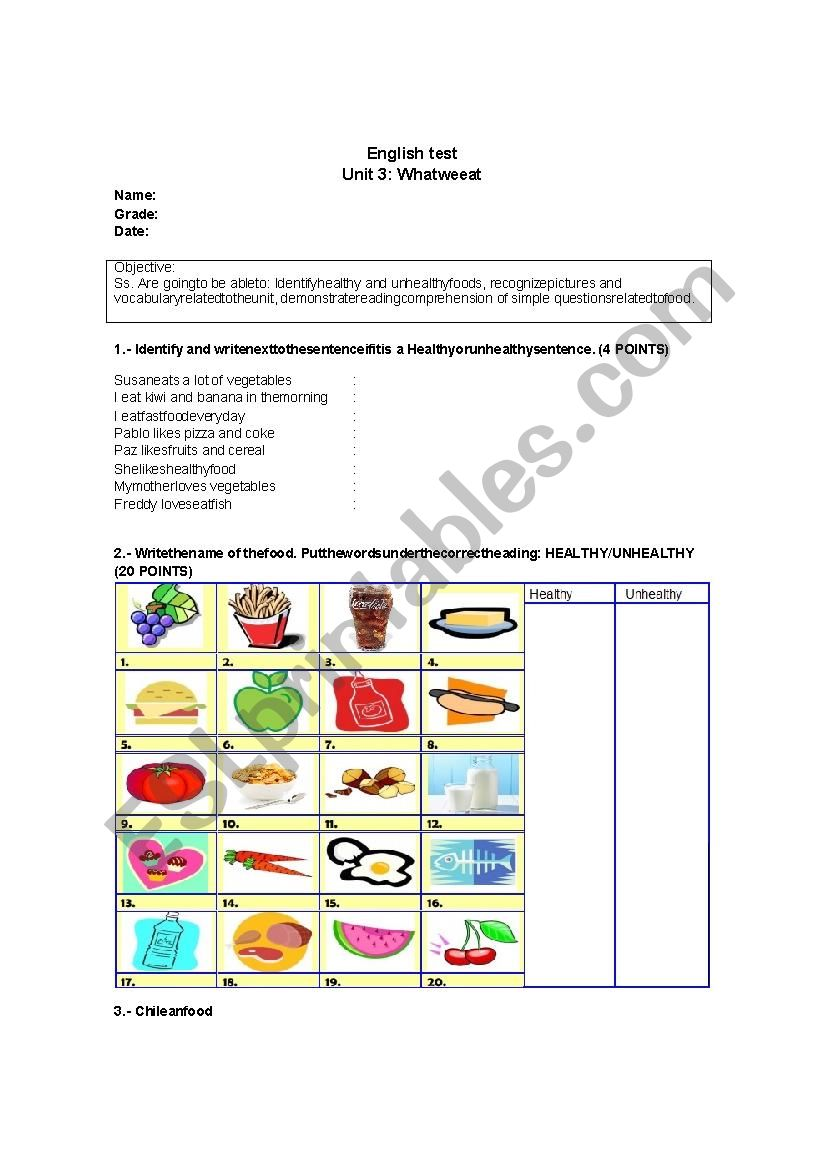 hight resolution of healthy and unhealthy food - ESL worksheet by ConstanzaJuana