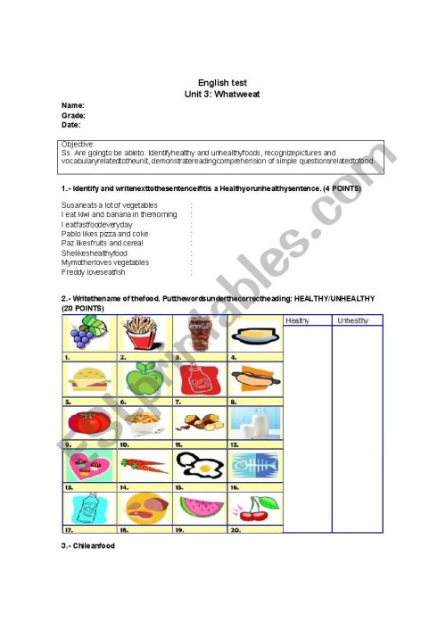 small resolution of healthy and unhealthy food - ESL worksheet by ConstanzaJuana