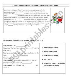 SEMESTER 2 TEST 1 GRADE 7 - ESL worksheet by wafakharrat [ 1169 x 826 Pixel ]