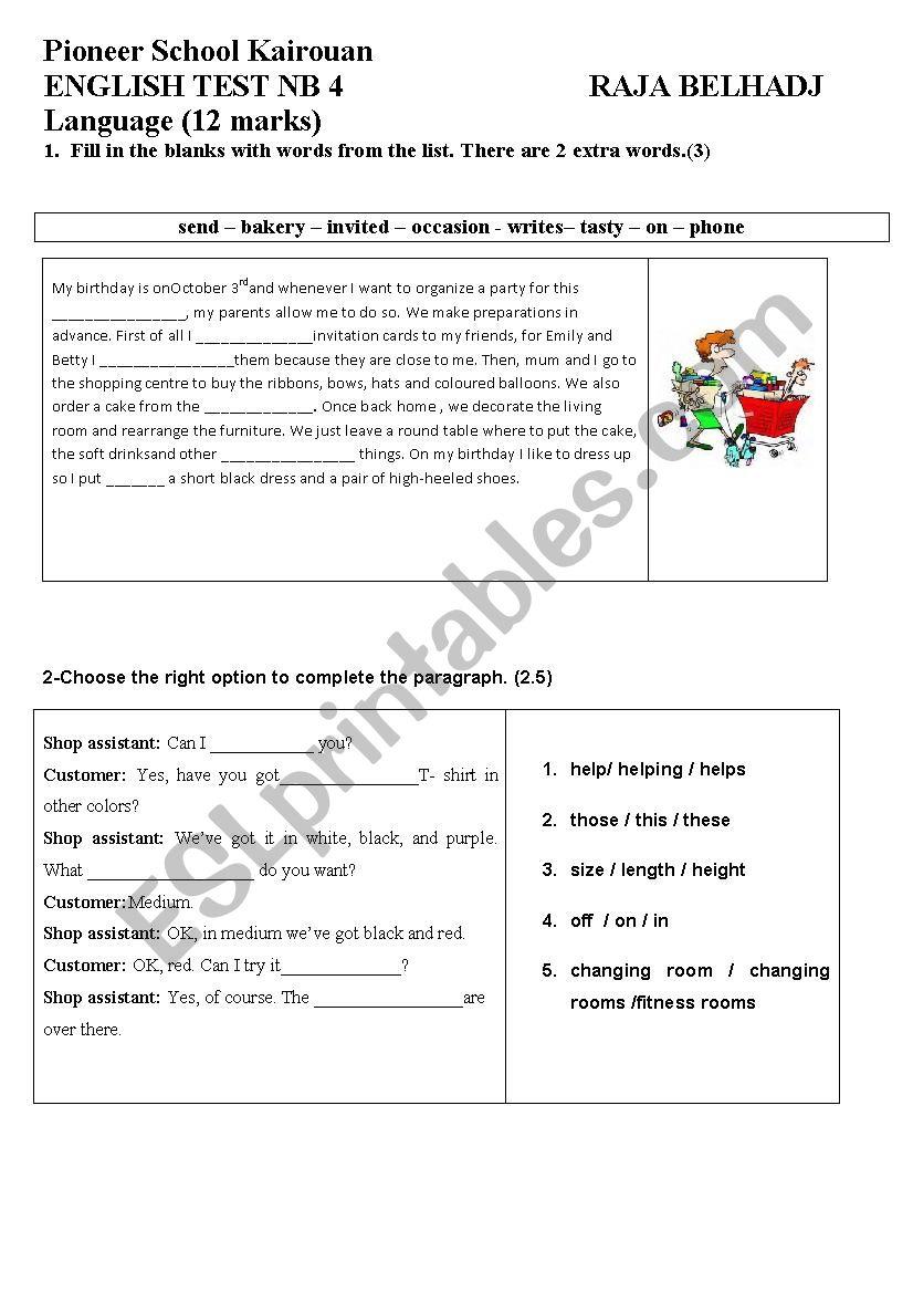 medium resolution of SEMESTER 2 TEST 1 GRADE 7 - ESL worksheet by wafakharrat