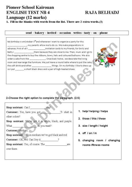 small resolution of SEMESTER 2 TEST 1 GRADE 7 - ESL worksheet by wafakharrat