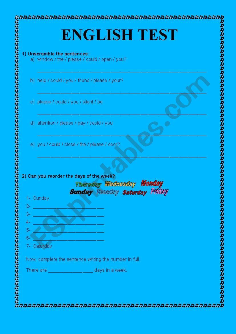 hight resolution of Test 5th grade - ESL worksheet by teacher drica