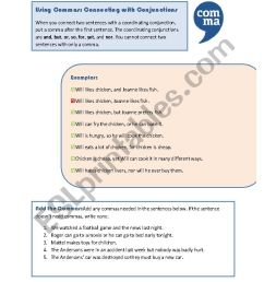 Commas: Coordinating Conjunctions - ESL worksheet by MoodyMoody [ 1169 x 826 Pixel ]