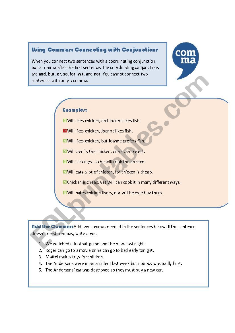 hight resolution of Commas: Coordinating Conjunctions - ESL worksheet by MoodyMoody