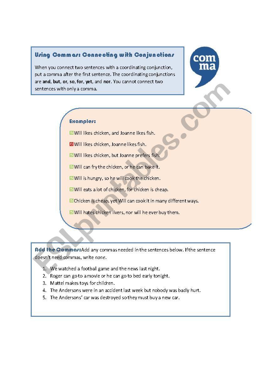 hight resolution of Commas: Coordinating Conjunctions - ESL worksheet by MoodyMoody