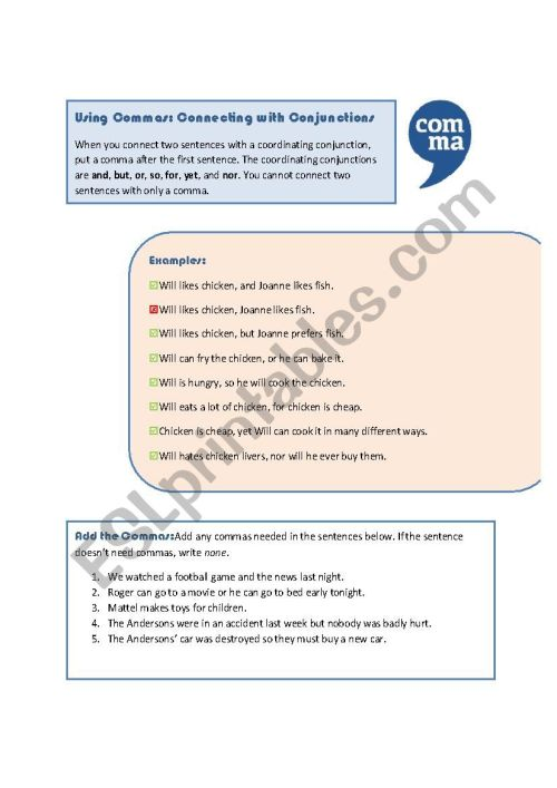 small resolution of Commas: Coordinating Conjunctions - ESL worksheet by MoodyMoody