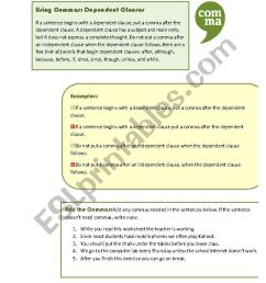 Using Commas: Dependent Clauses - ESL worksheet by MoodyMoody [ 1169 x 826 Pixel ]