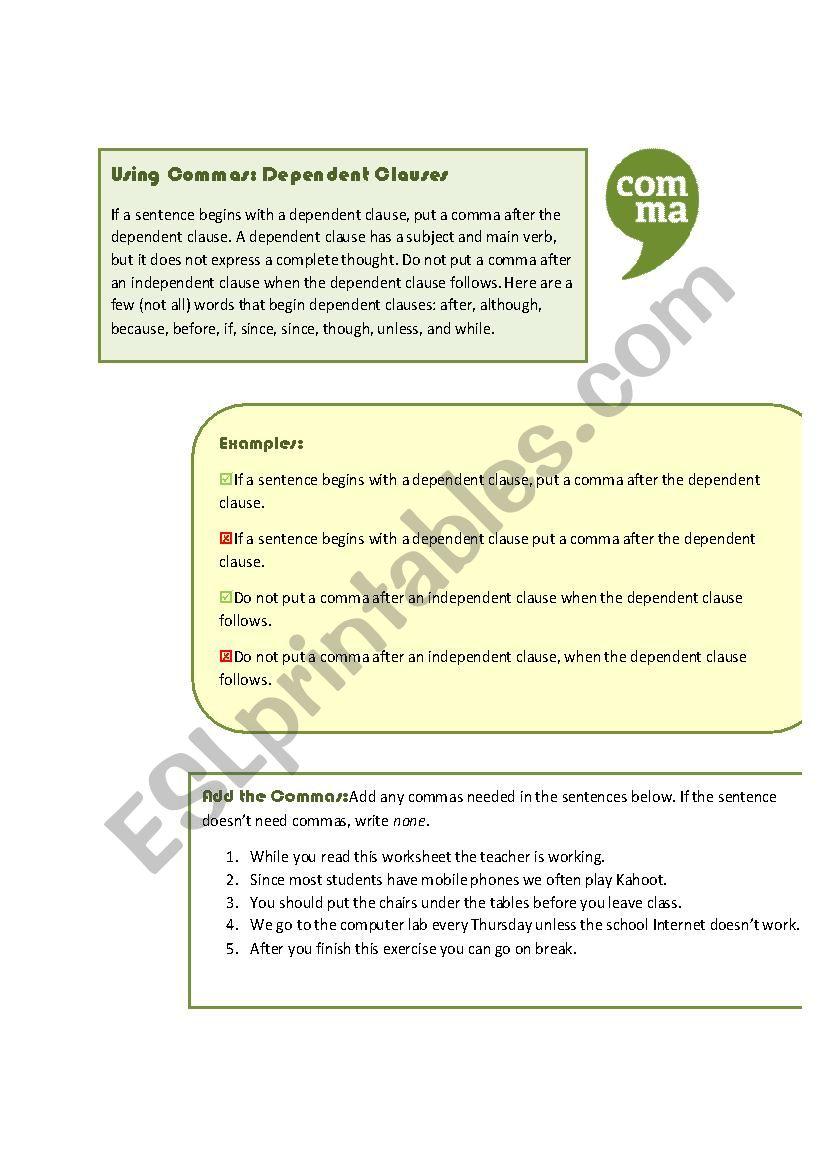 medium resolution of Using Commas: Dependent Clauses - ESL worksheet by MoodyMoody