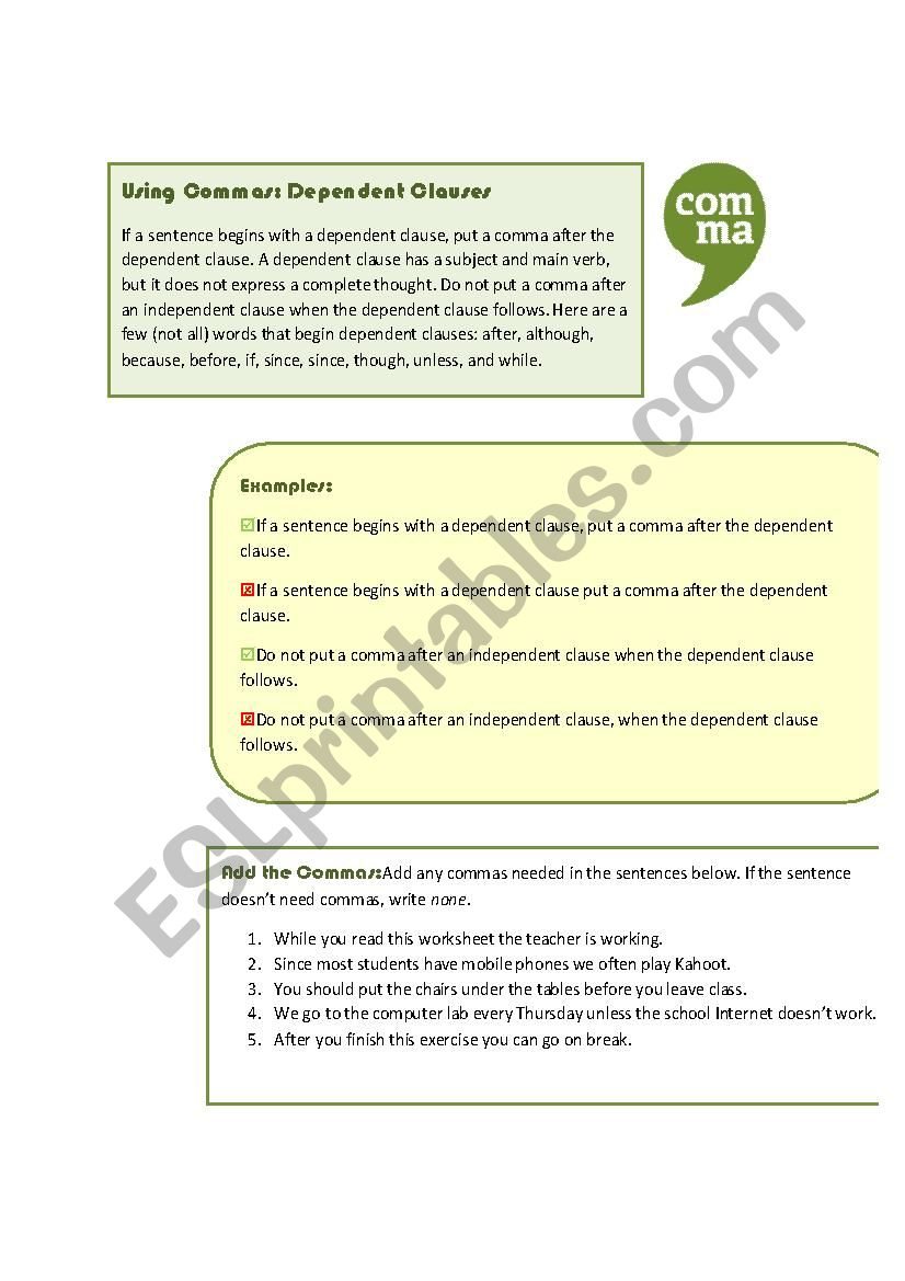 hight resolution of Using Commas: Dependent Clauses - ESL worksheet by MoodyMoody