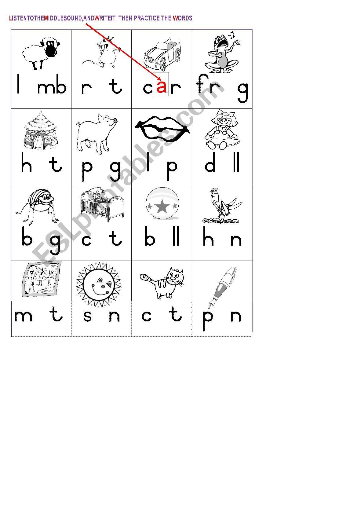 Middle Sounds Vowels Worksheet