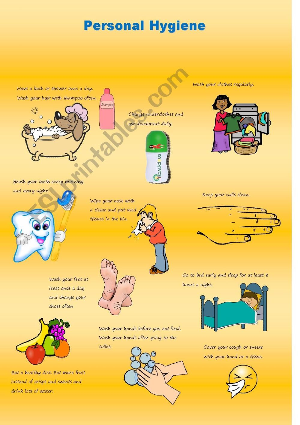 medium resolution of Personal Hygiene Poster - ESL worksheet by claire23