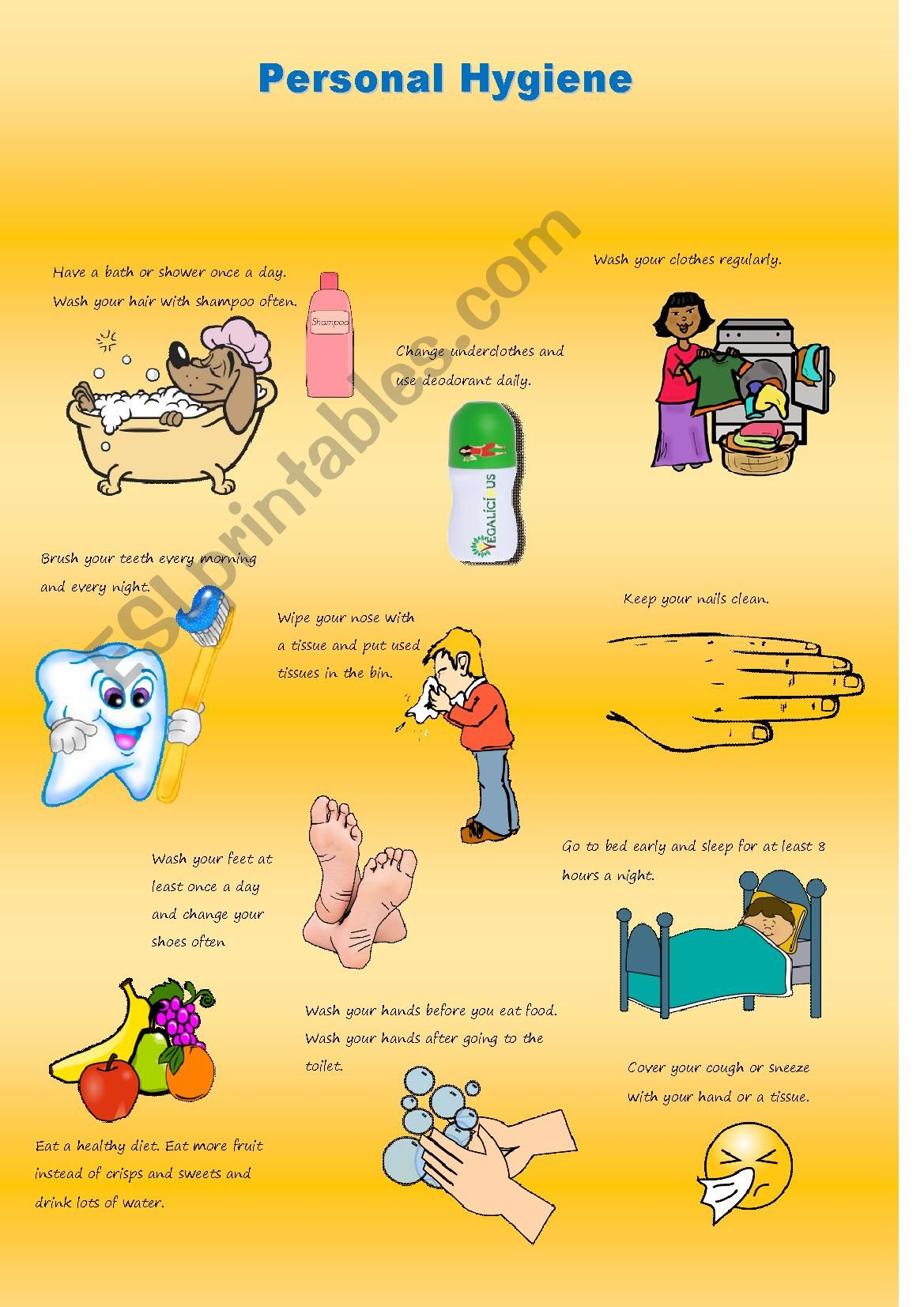 hight resolution of Personal Hygiene Poster - ESL worksheet by claire23