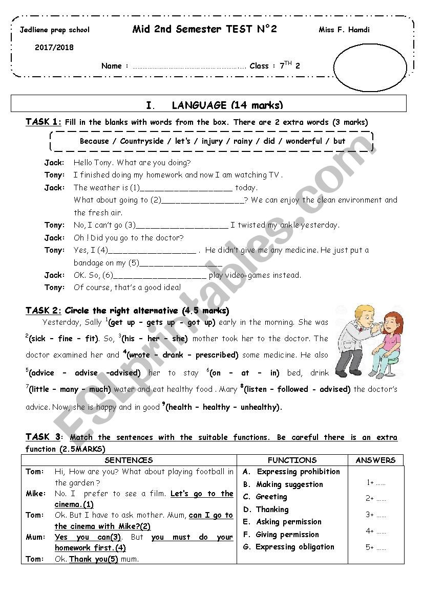 medium resolution of Mid 2nd semester test 2 (7th grade) - ESL worksheet by chicha.h12