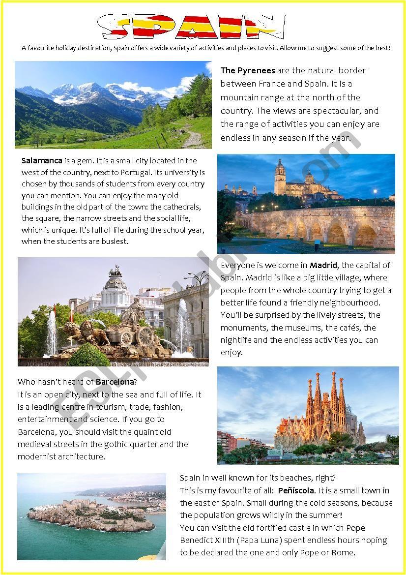 medium resolution of HOLIDAY DESTINATIONS: SPAIN - ESL worksheet by pilarmham