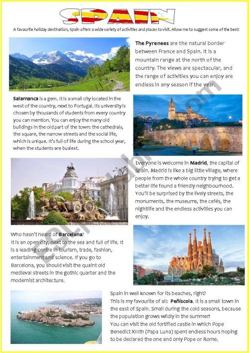 small resolution of HOLIDAY DESTINATIONS: SPAIN - ESL worksheet by pilarmham