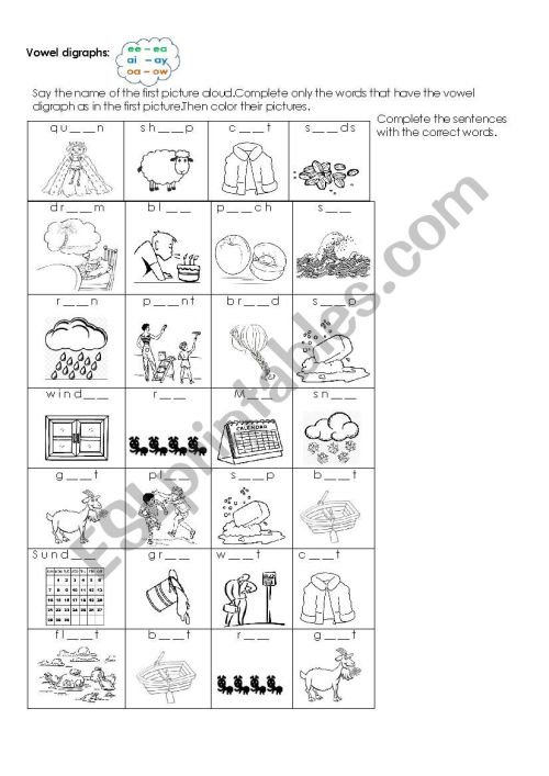 small resolution of Vowel digraphs listening exercise - ee-ea /ai-ay/oa-ow - ESL worksheet by  Laurita02