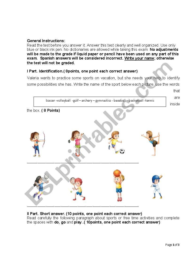 hight resolution of TEST SPORTS EIGHTH GRADE - ESL worksheet by Rake07