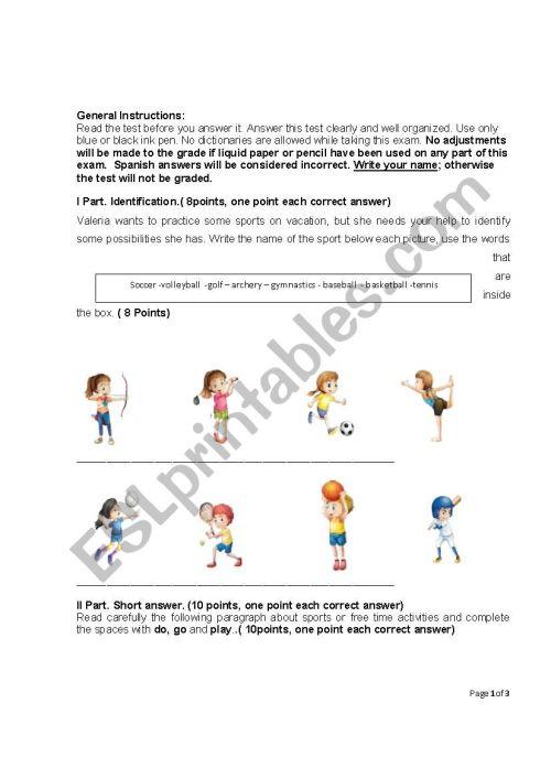 small resolution of TEST SPORTS EIGHTH GRADE - ESL worksheet by Rake07