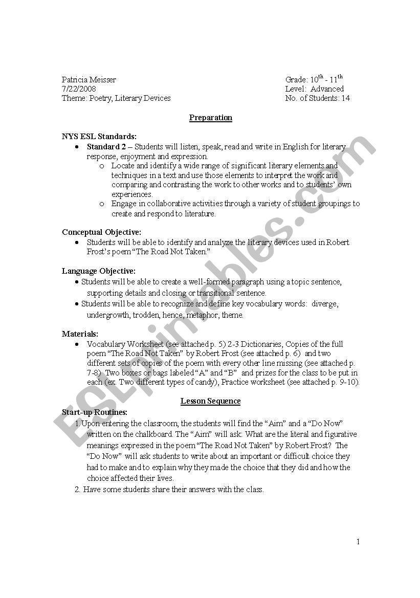 hight resolution of Robert Frost \The Road Not Taken\ Lesson Plan and Worksheets - ESL worksheet  by I \u003c3 ESL