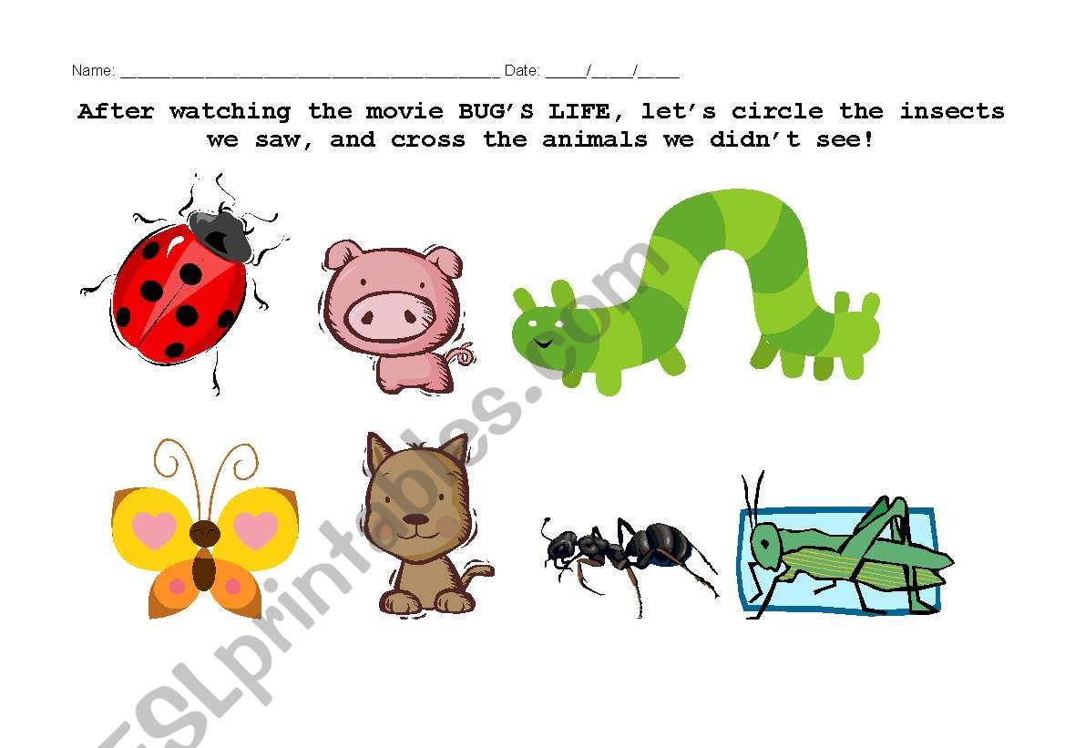 English Worksheets Activity About The Movie Bug S Life