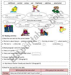 My First Day At School - ESL worksheet by saaidiyasmine [ 1161 x 821 Pixel ]