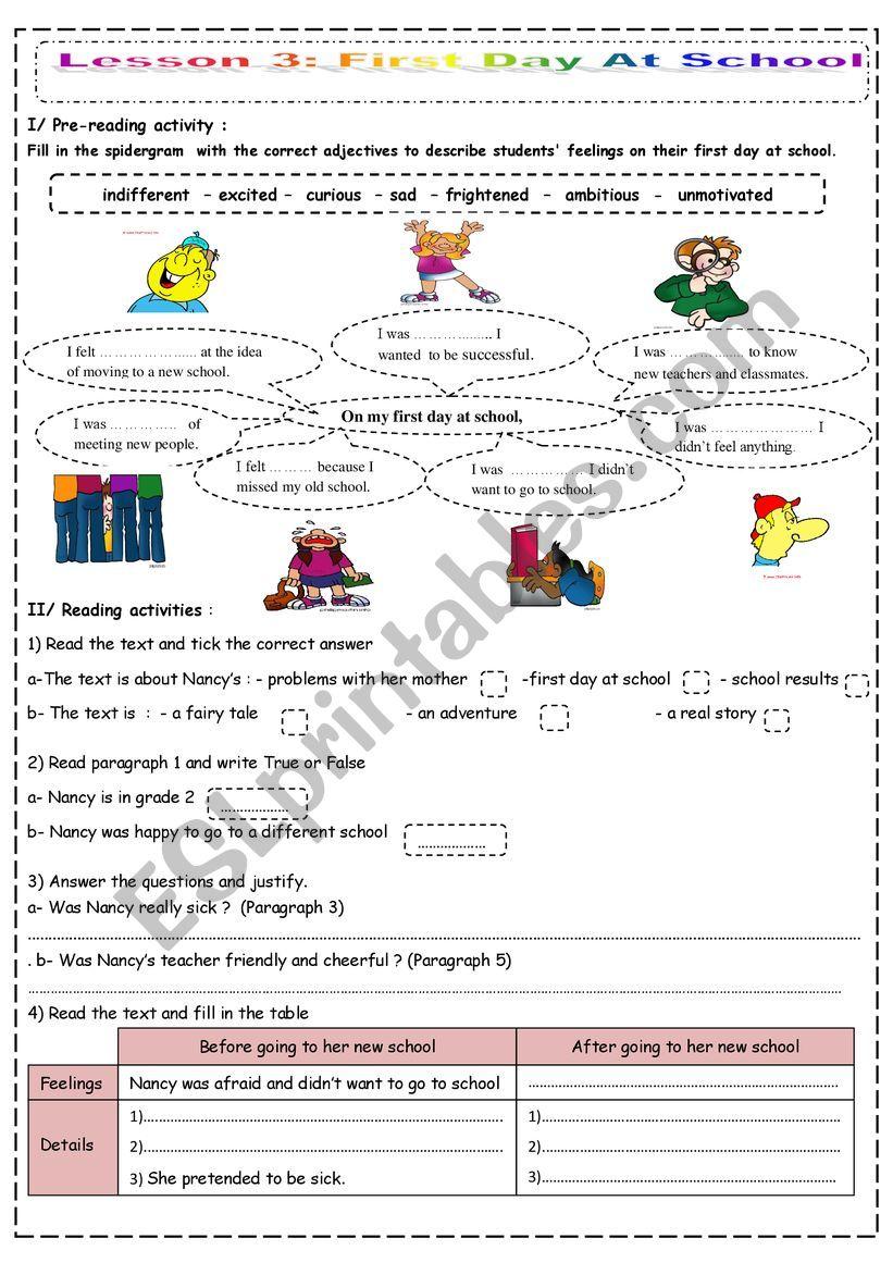 medium resolution of My First Day At School - ESL worksheet by saaidiyasmine