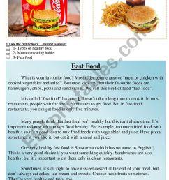 fast food reading comprehension healthy food - ESL worksheet by abdelatif  mouyssa [ 1161 x 821 Pixel ]
