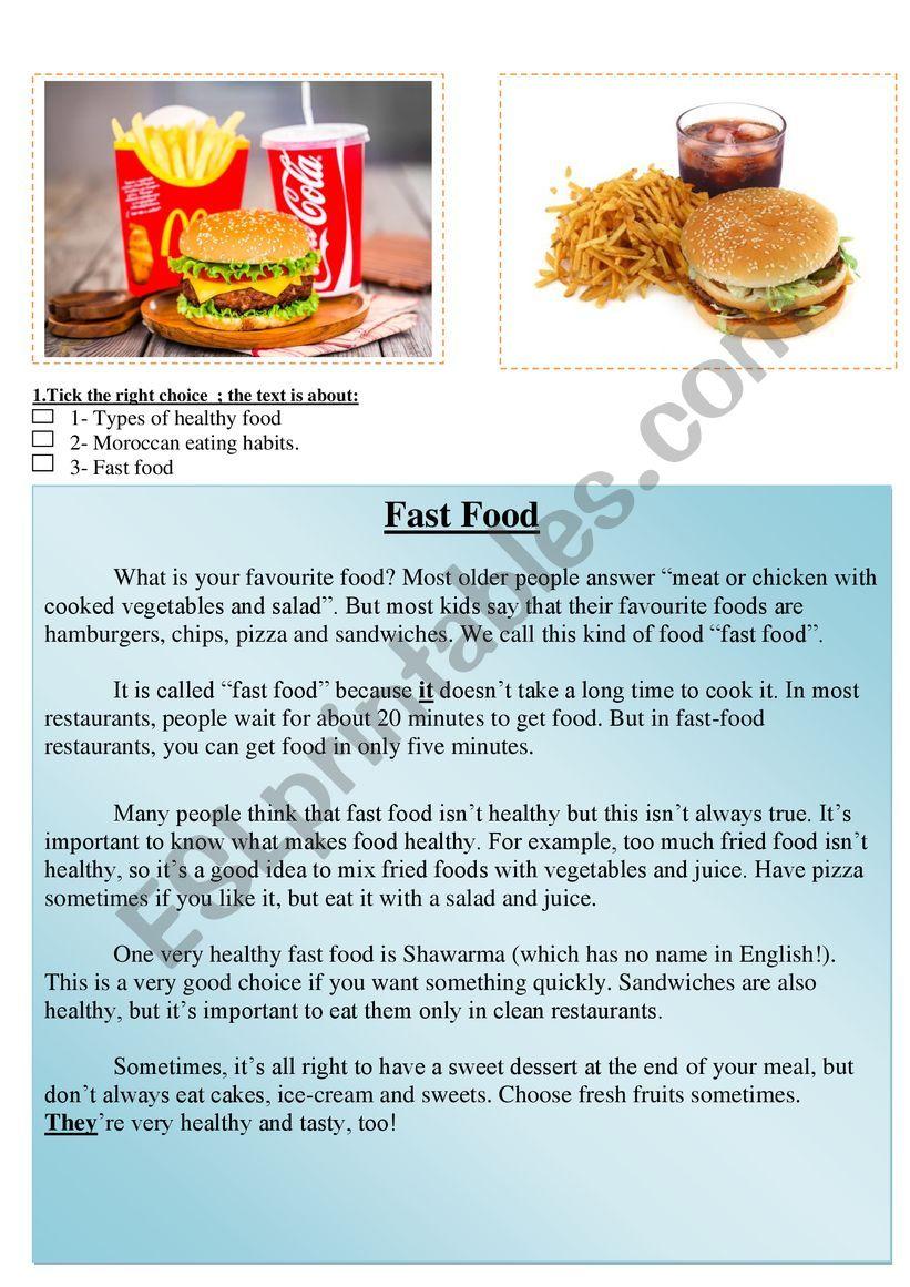 hight resolution of fast food reading comprehension healthy food - ESL worksheet by abdelatif  mouyssa