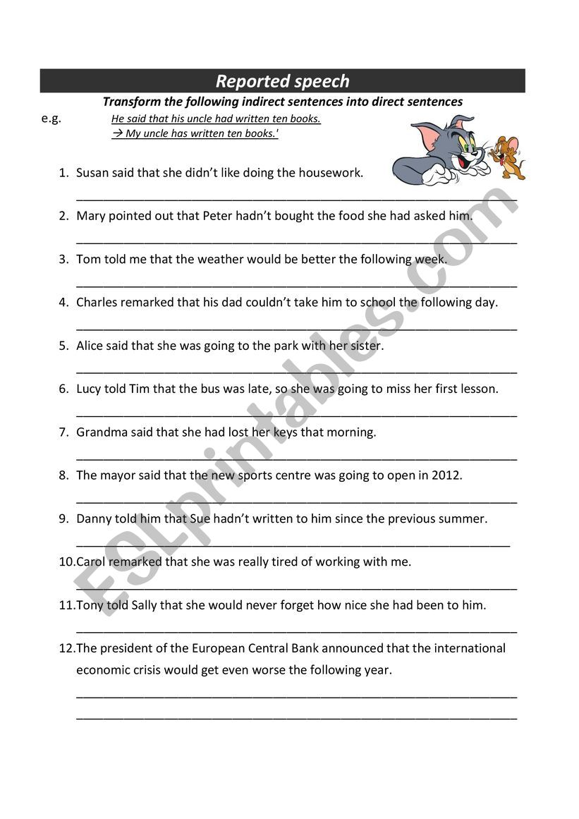 medium resolution of Reported speech in past - Transform reported speech into direct speech -  ESL worksheet by steffy122