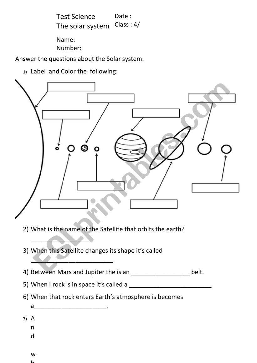 medium resolution of Solar System - ESL worksheet by Iron Xalao