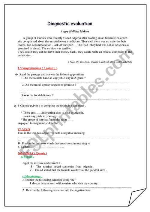 small resolution of diagnostic test 1st grade - ESL worksheet by asmajoulaine