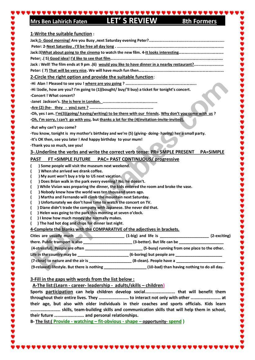 medium resolution of let ´s r review 8th grade - ESL worksheet by faten ben lahirch