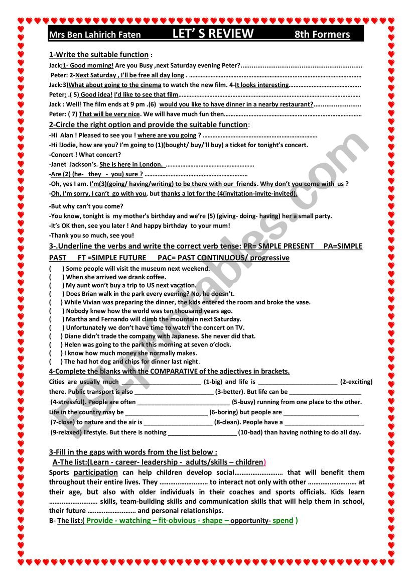 hight resolution of let ´s r review 8th grade - ESL worksheet by faten ben lahirch