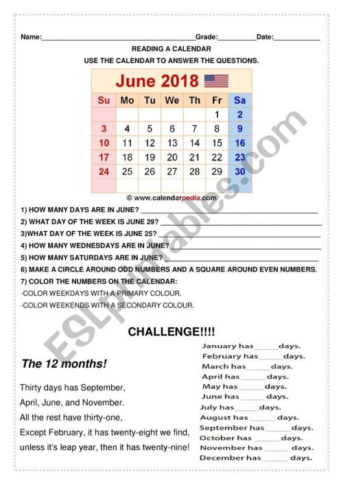 small resolution of Reading a Calendar - ESL worksheet by 0042638