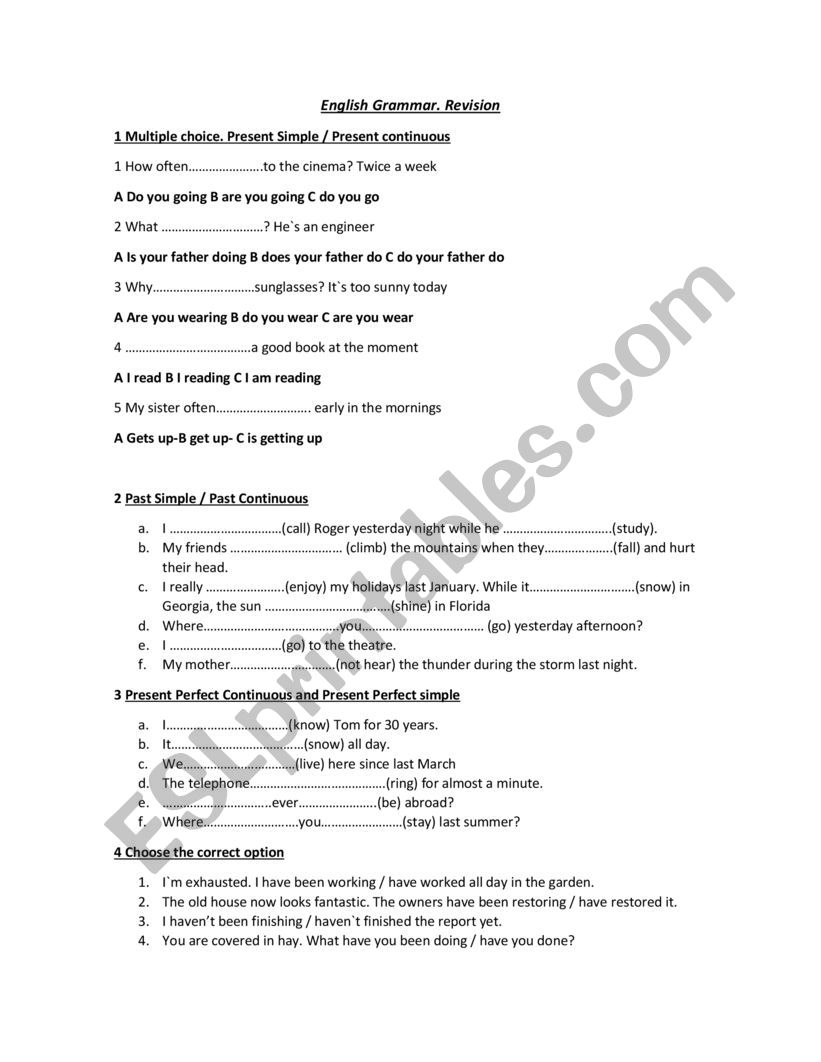 hight resolution of F 1 English Grammar Exercise