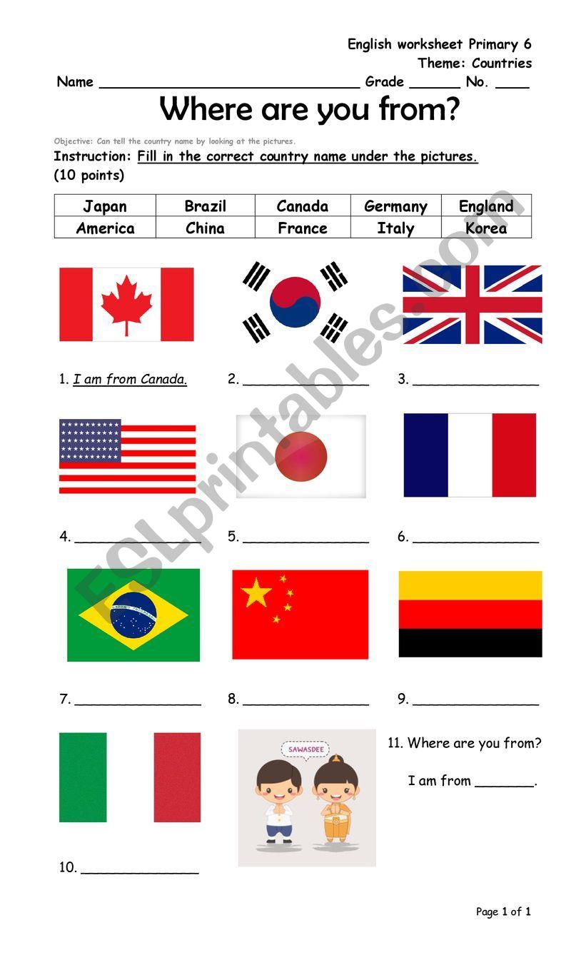 medium resolution of Countries - ESL worksheet by Koonkkink
