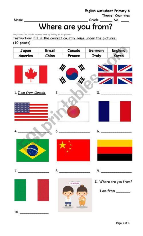 small resolution of Countries - ESL worksheet by Koonkkink