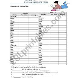 7th Grade-Past Simple-Regular and Irregular verbs - ESL worksheet by  Carmencosta [ 1161 x 821 Pixel ]