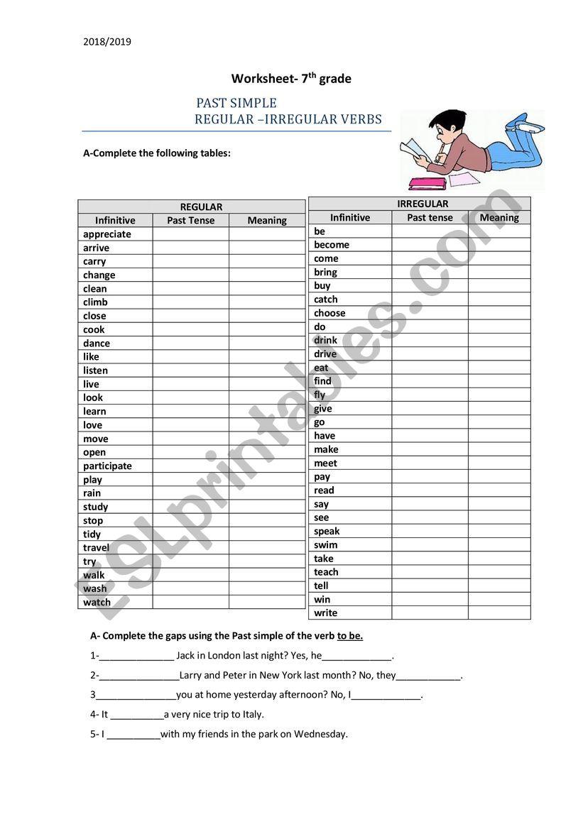 medium resolution of 7th Grade-Past Simple-Regular and Irregular verbs - ESL worksheet by  Carmencosta