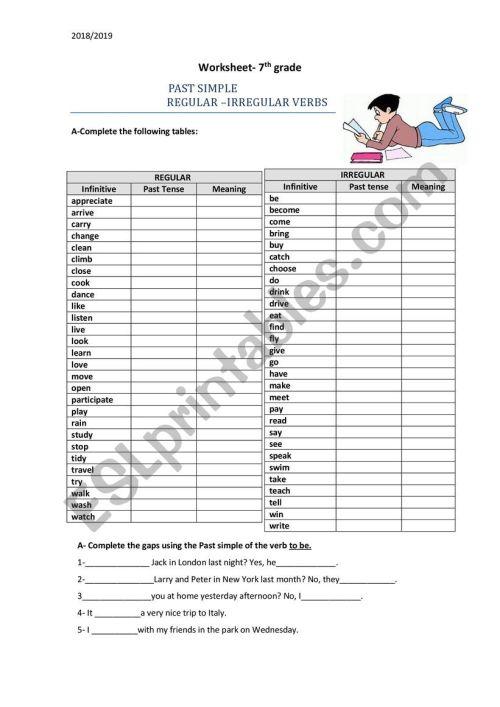 small resolution of 7th Grade-Past Simple-Regular and Irregular verbs - ESL worksheet by  Carmencosta