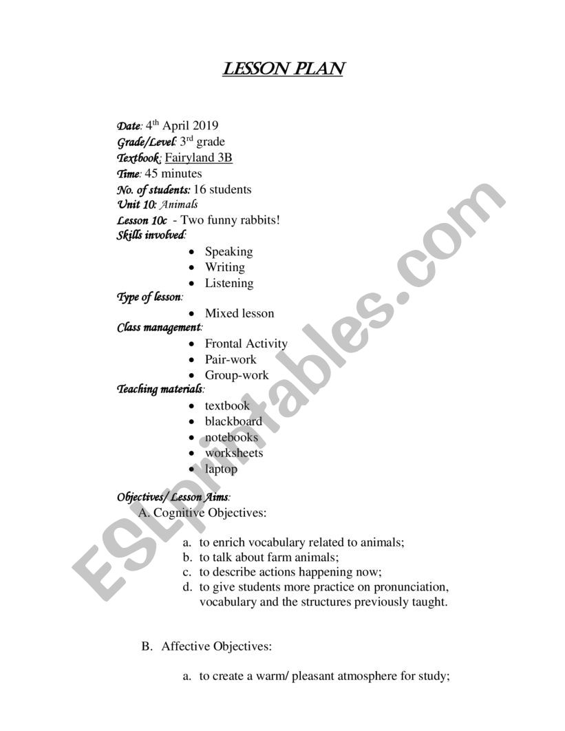 hight resolution of Lesson plan - ESL worksheet by AnasaMe