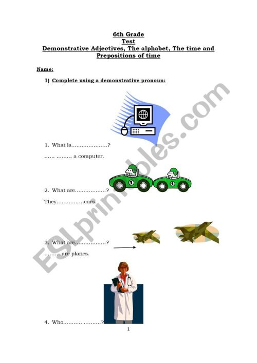 small resolution of test for 6th graders - ESL worksheet by gustito