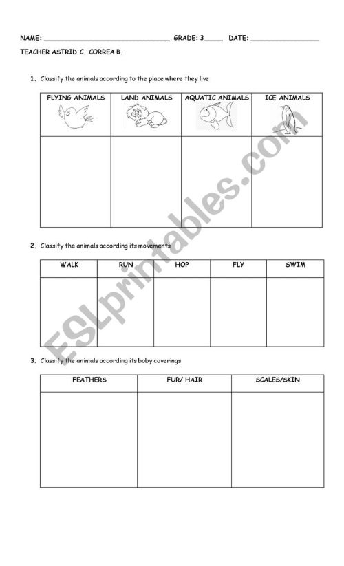 small resolution of animals classification - ESL worksheet by astrid324