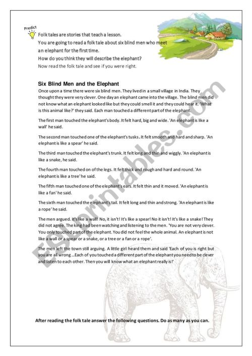 small resolution of The blind man and the elephant worksheets